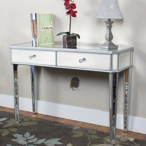 Best Choice Products® Mirrored Console Table Vanity Desk Mirror Glam 2 Drawers Home Furniture
