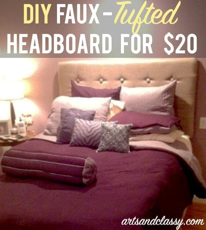 Faux-Tufted DIY Headboard for $20 via www.artsandclassy.com