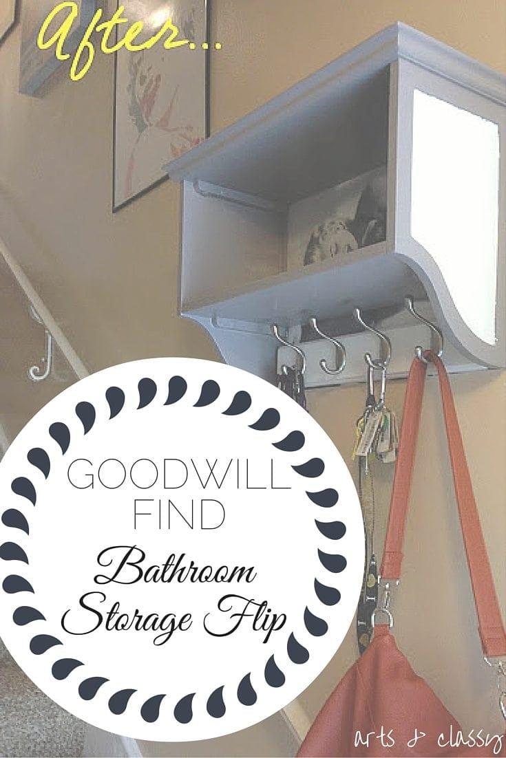 Goodwill Find - Bathroom Storage Flip turn entryway floating storage for my purse, keys, and mail