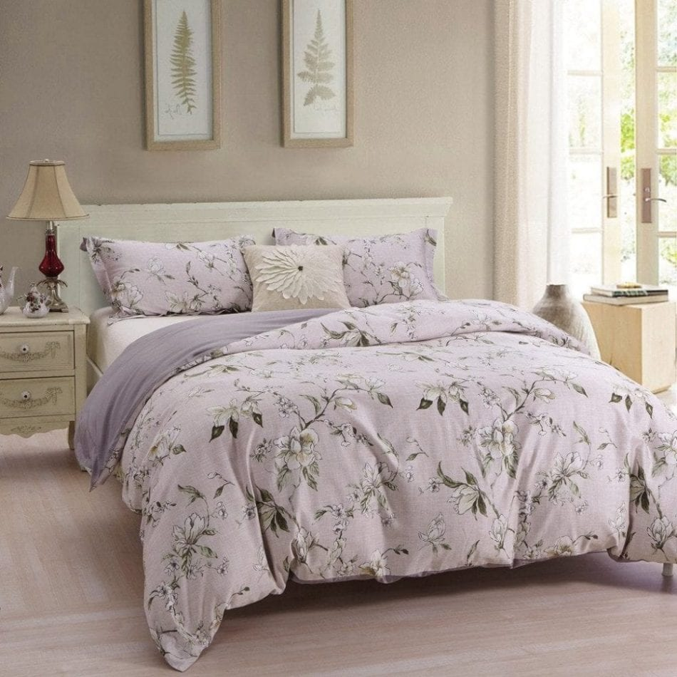 Bermo Floral Duvet Cover Sets 3 Piece, Cotton Sateen, Print Designer Duvet Covers, Inside Ties, Comforter Cover with Shams, Oriental Patterned