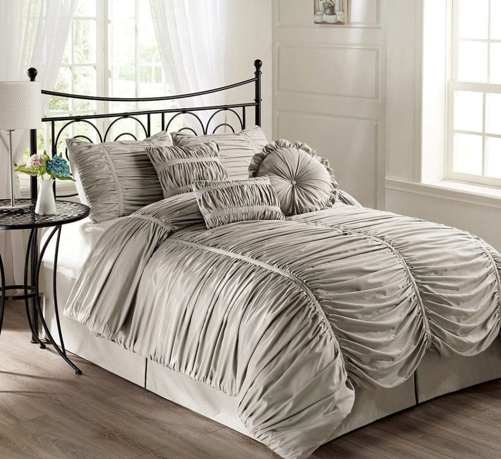 Chezmoi Collection 7-piece Chic Ruched Comforter Set