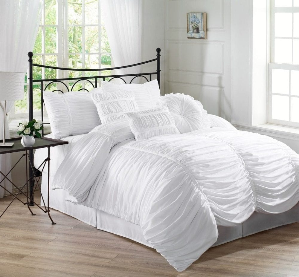 Chezmoi Collection Chic Ruched White Duvet Cover Set
