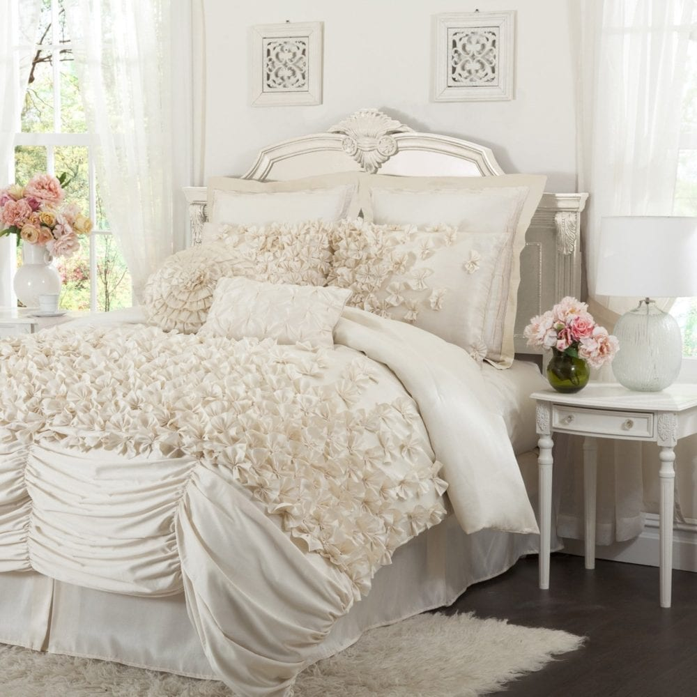 Lush Decor Lucia 4-Piece Comforter Set, Queen, Ivory