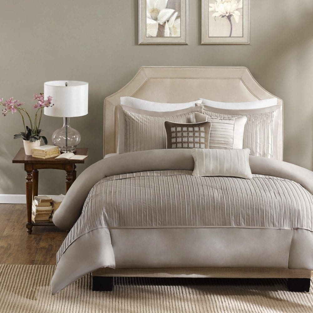 Madison Park Trinity 6 Piece Duvet Cover Set, Full:Queen, Taupe