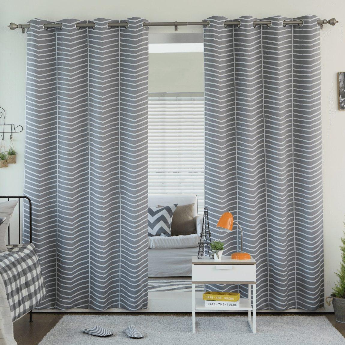 Best Home Fashion Room Darkening Chevron Print Curtains - Stainless Steel Nickel Grommet Top