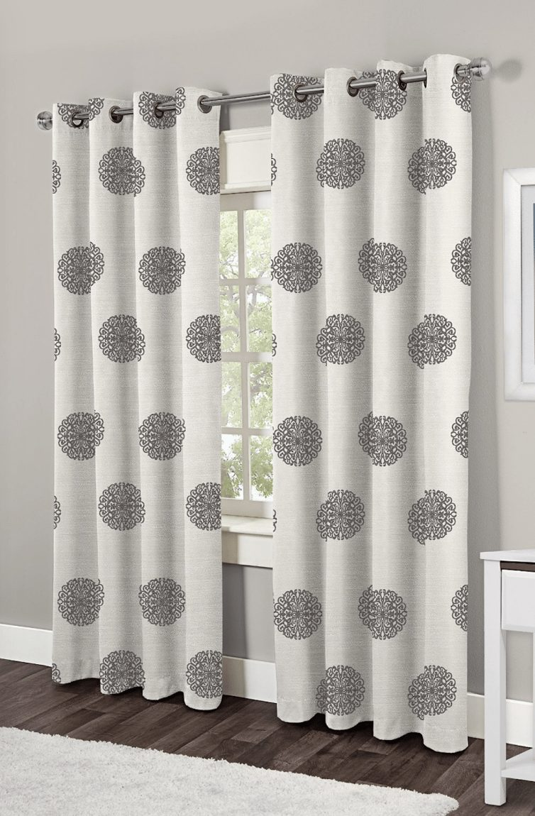 Exclusive Home Sedgewick Medallion Linen Blend Grommet Top Window Curtain Panels