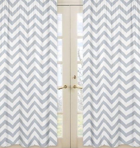 Gray and White Chevron Window Treatment Zig Zag Panels - Set of 2