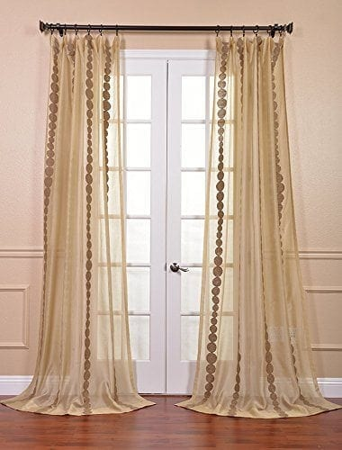 Half Price Drapes SHCH-EMBOCS3595-96 Embroidered Sheer Curtain, Cleopatra Gold