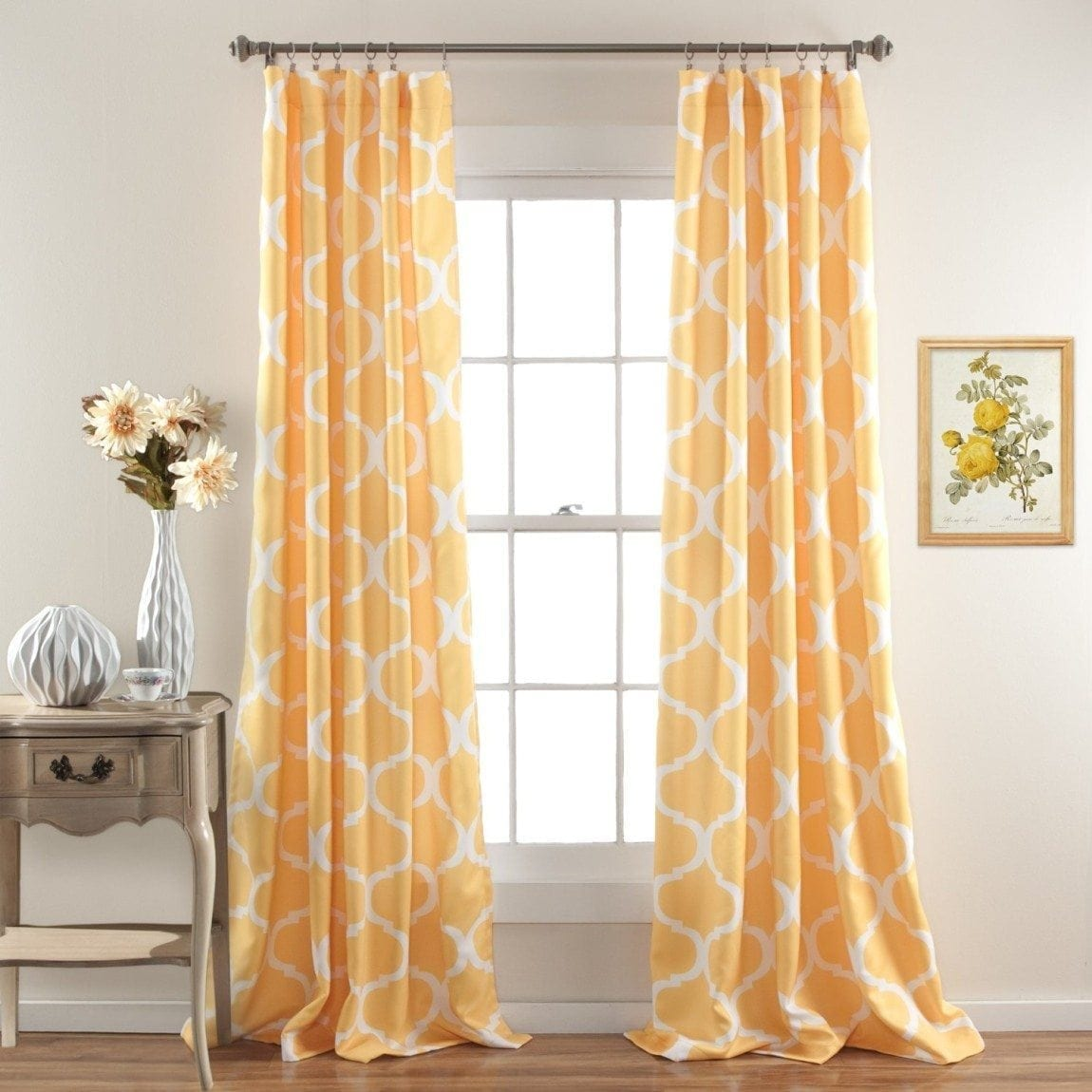 lush decor geo blackout window curtain panel set of 2 yellow