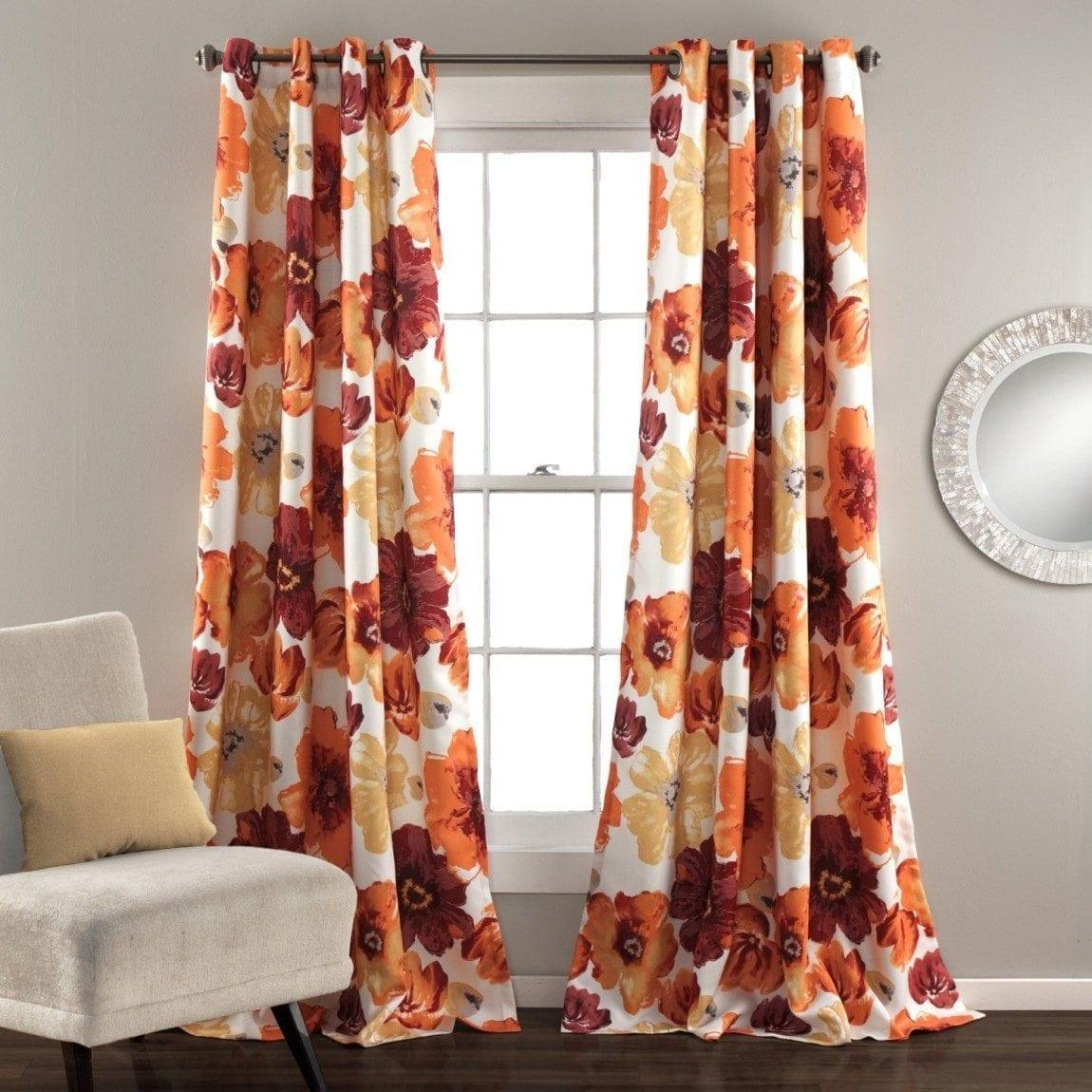 Lush Decor Leah Blackout Window Curtain Panel (Set of 2), Red:Orange