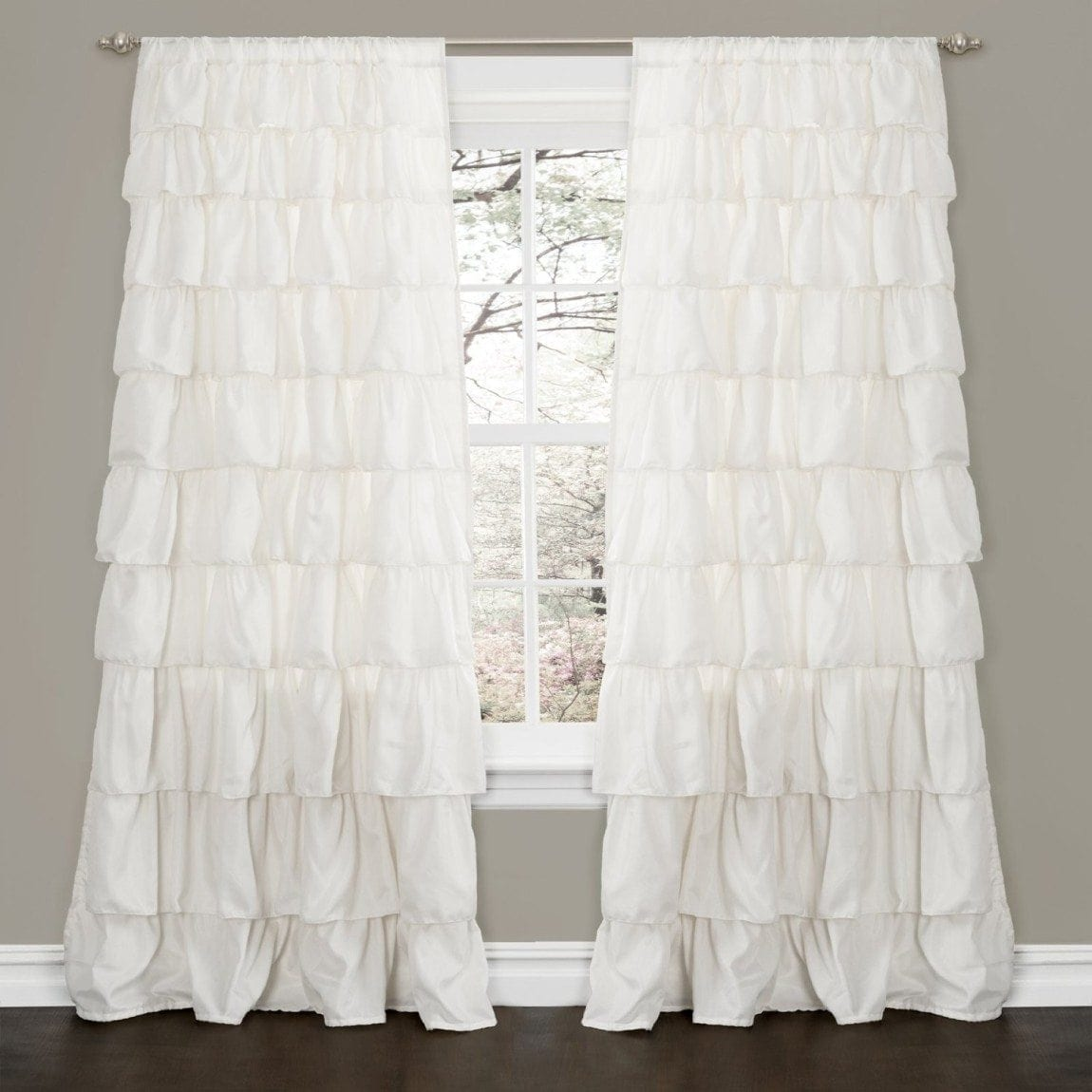 Lush Decor Ruffle Window Curtain, Ivory