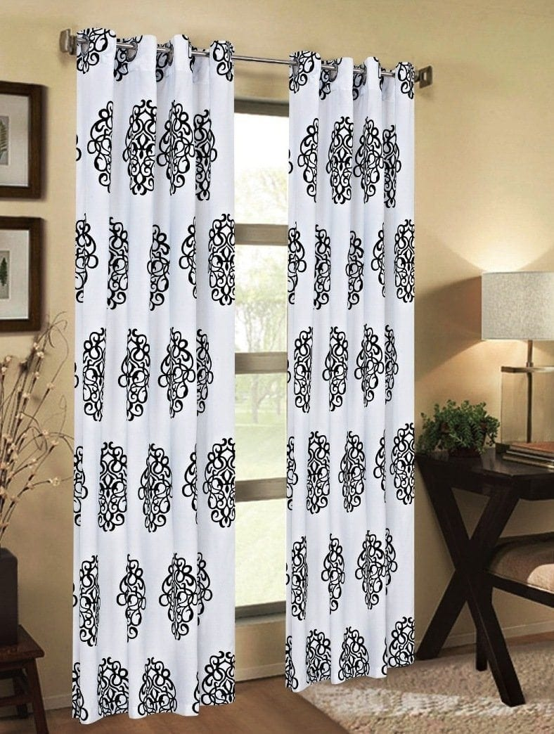 Luxurious Medallion Print Grommet Curtain Panels Window Drapes 84-inch x 54-inch Set of 2 White & Black