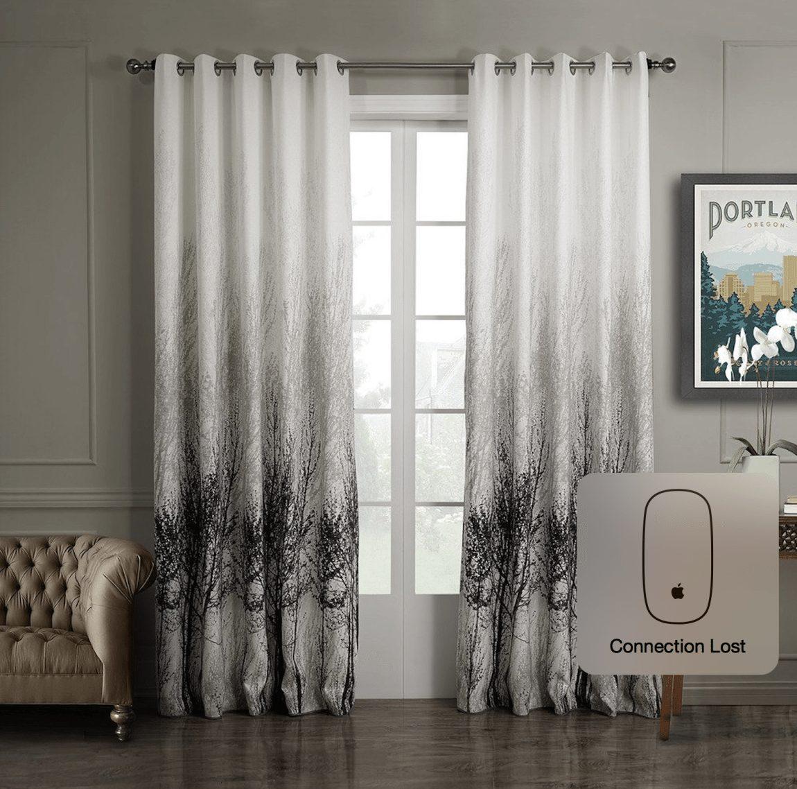VIVOSUN Elegant 2 Pieces Printed Window Curtain Grommet Drapes White & Grey