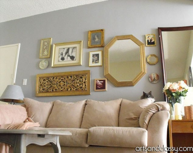 do it yourself gold octagon mirror revamp home decor living room ideas