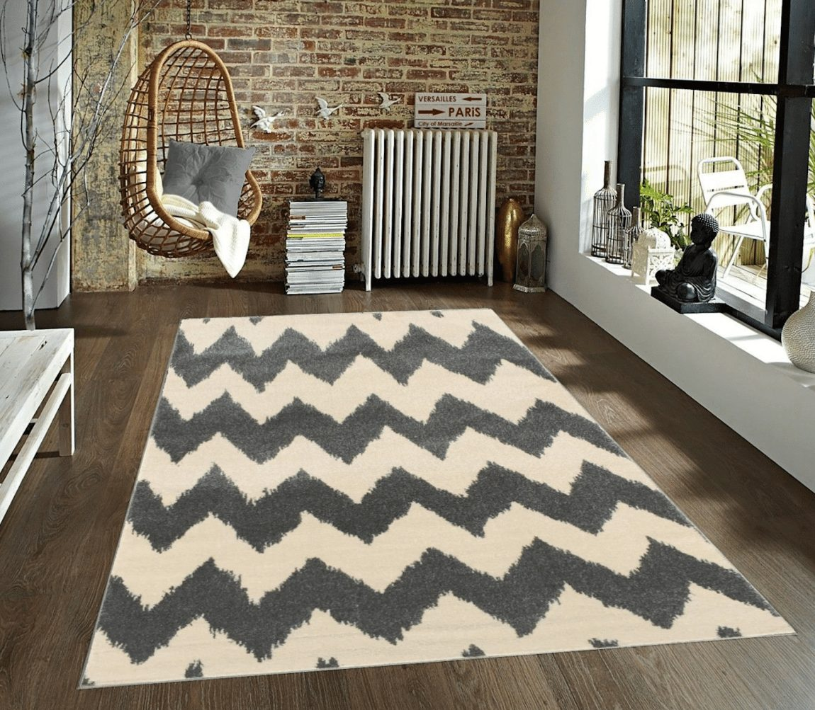 Fancy Wowen Zigzag Chevron Grey & Cream Area Rug Azul Homegoods Collection