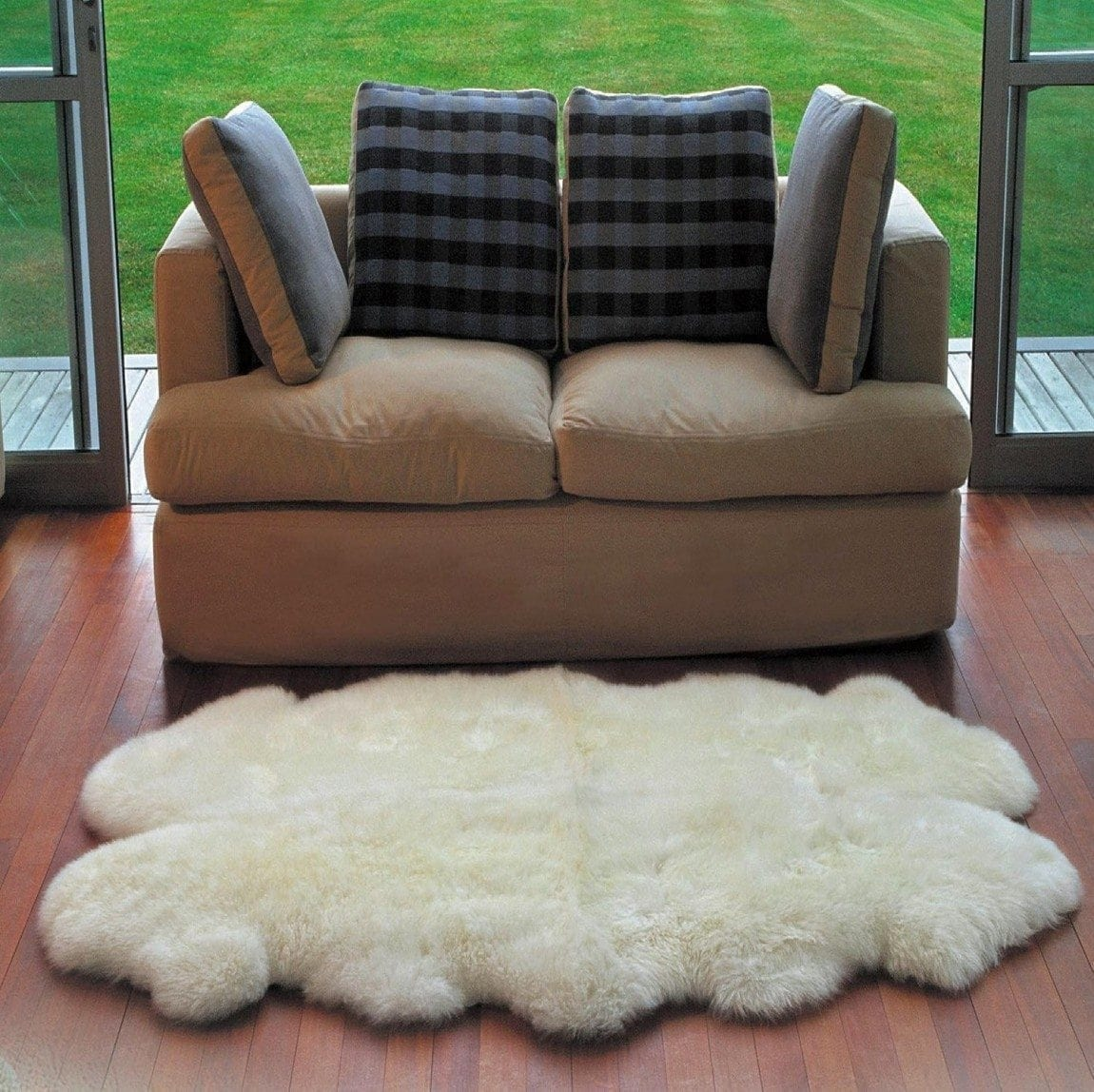 Genuine Australian Sheepskin Rug Four Pelt Ivory Fur, Quarto