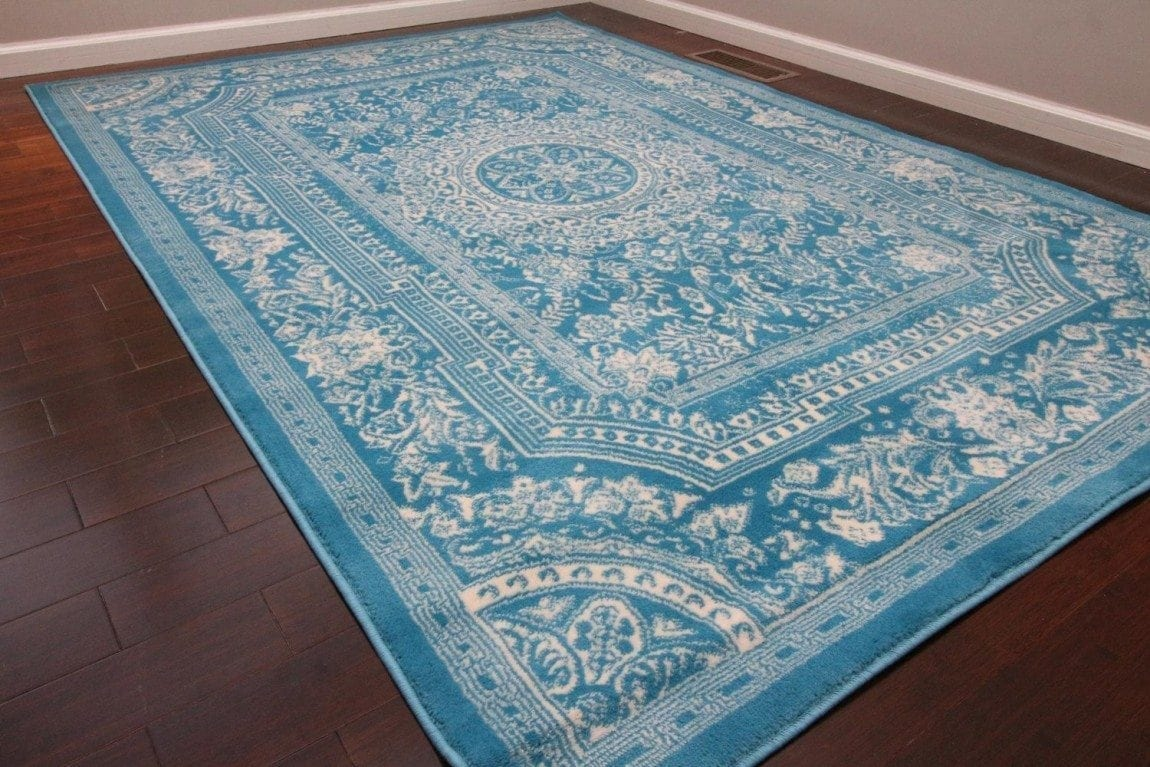 Light Blue Traditional French Floral Wool Persian Area Rugs 7'10 x 10'5