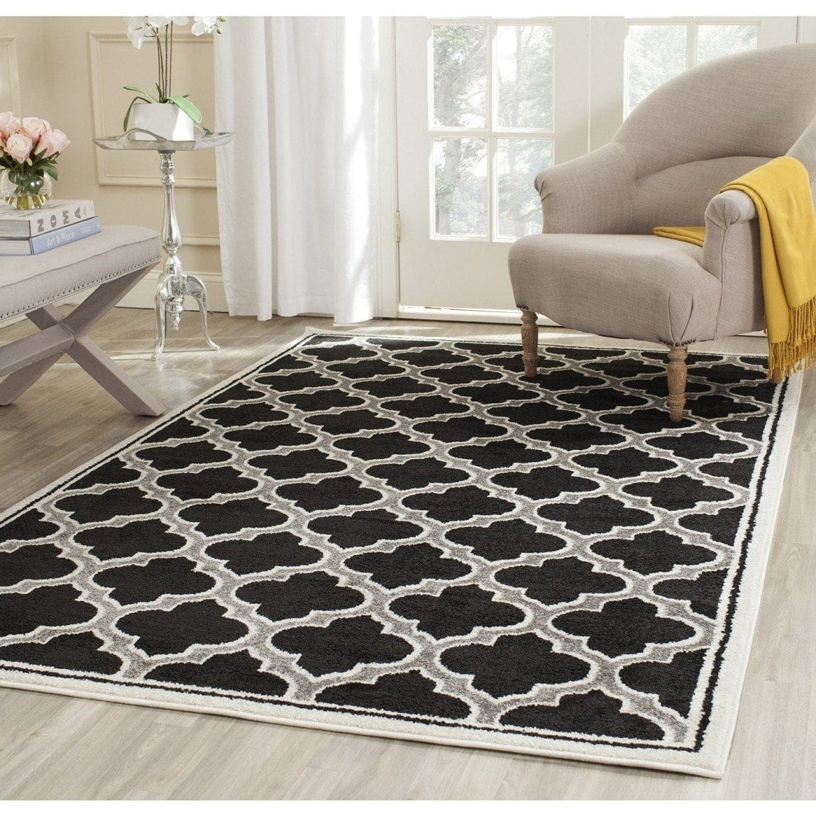 Safavieh Amherst Collection AMT412G Anthracite and Ivory Indoor: Outdoor Area Rug, 8 feet by 10 feet (8' x 10')