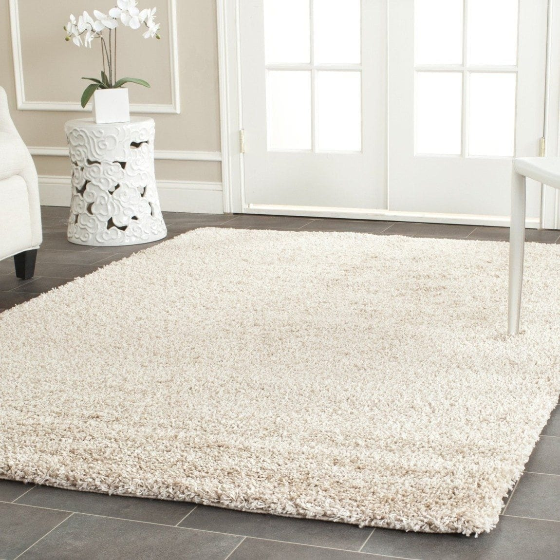 Safavieh California Shag Collection SG151-1313 Beige Shag Area Rug, 8 feet by 10 feet (8' x 10')