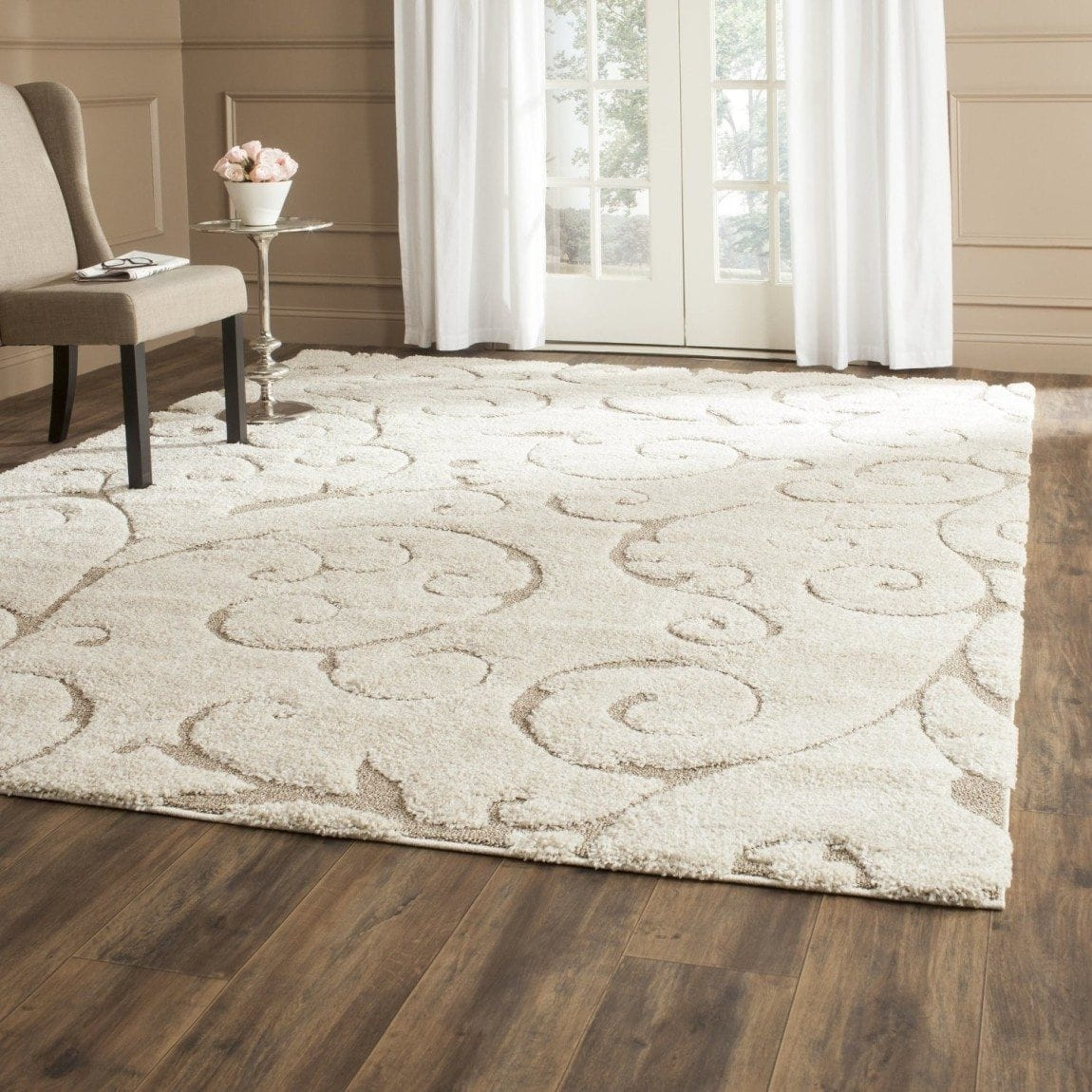 Safavieh Florida Shag Collection SG455-1113 Cream and Beige Shag Area Rug, 8 feet by 10 feet (8' x 10')