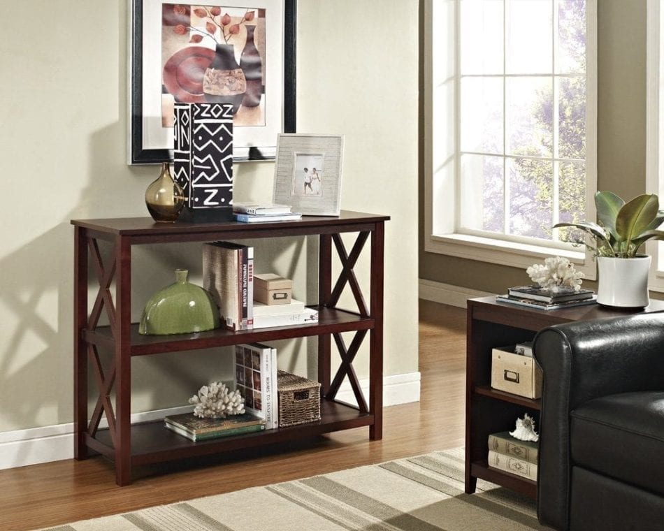 Espresso Occasional Console Sofa Table Bookshelf