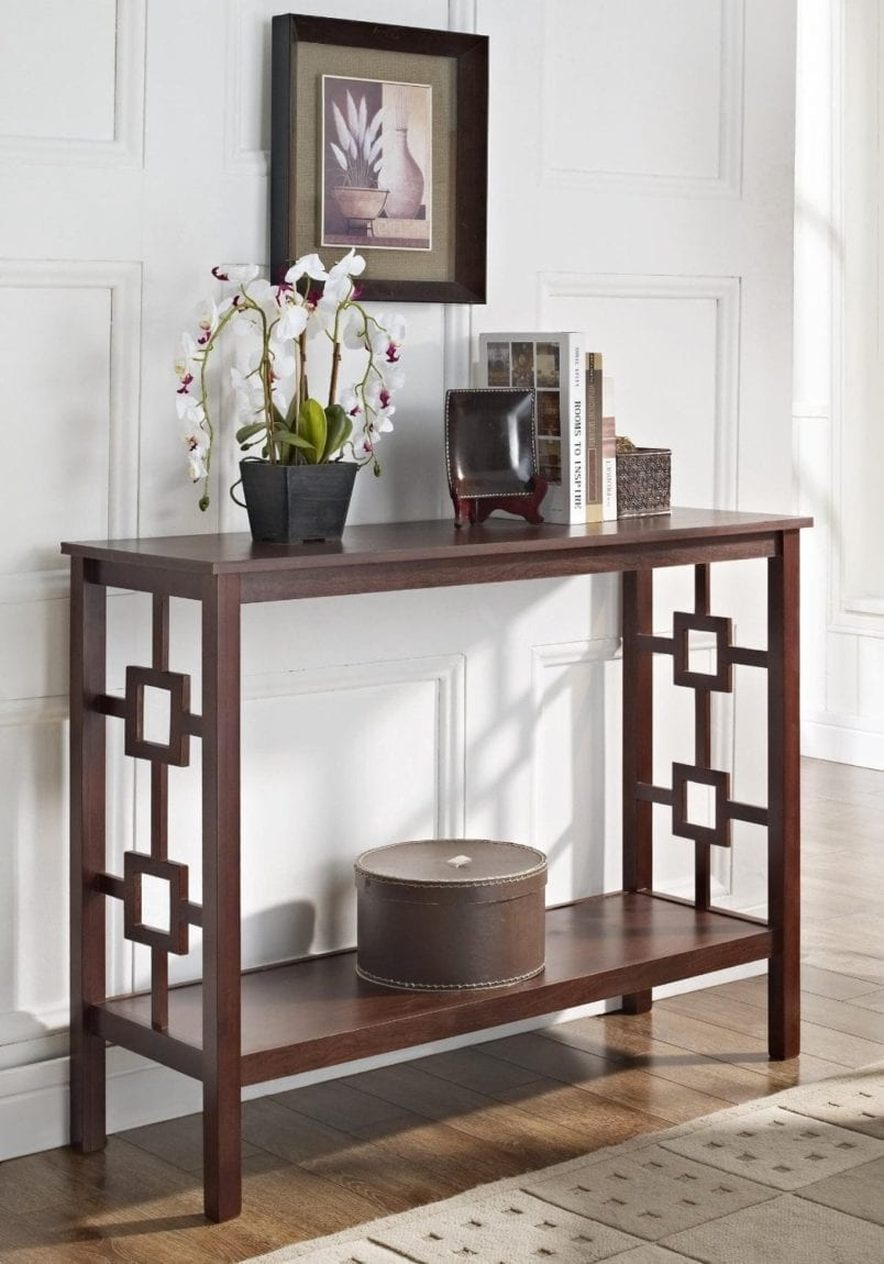 Espresso Square Design Occasional Console Sofa Table Bookshelf
