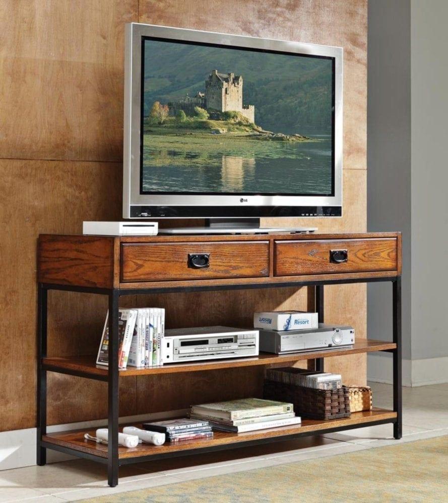 Home Style 5050-06 Modern Craftsman Media Console, Distressed Oak Finish
