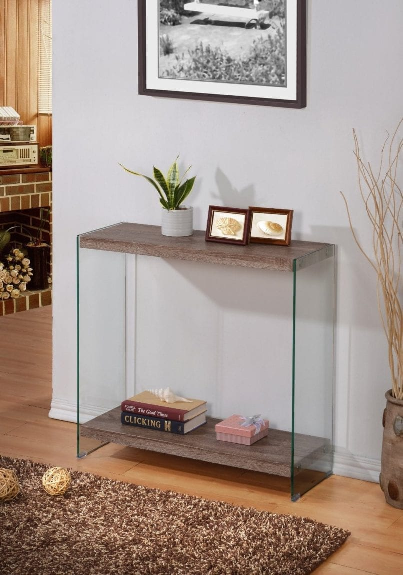 Reclaimed Wood Tempered Glass Sofa Console Shelf Table