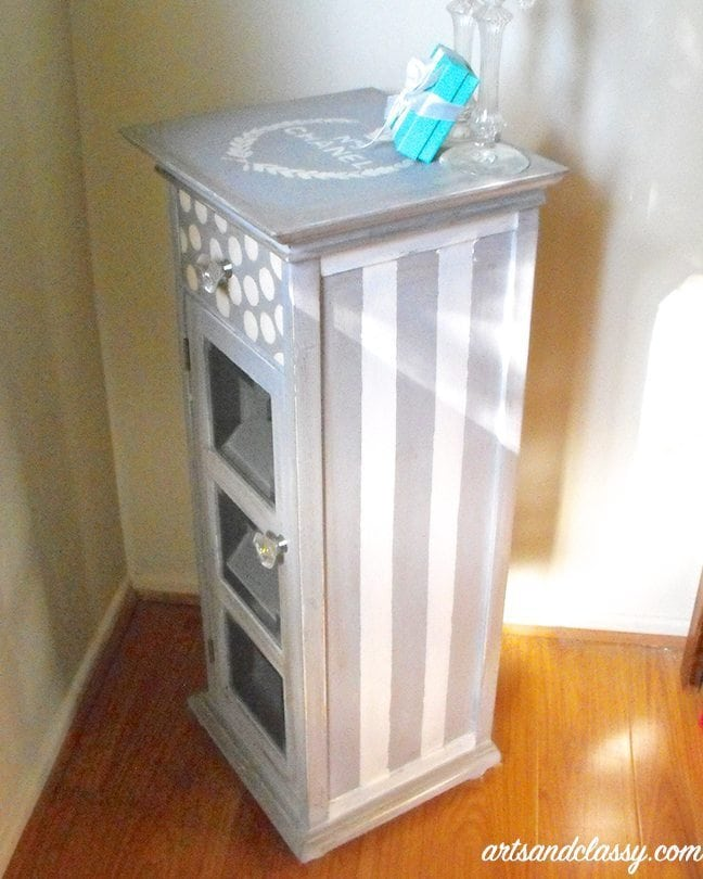 Classy small table cabinet with polka dots and gem door knobs gets painted with annie sloan chalk paint paris gray for DIY Furniture projects