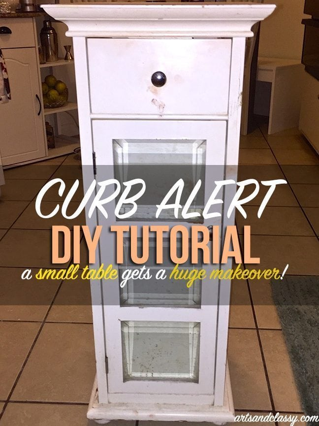 Curb alert for DIY furniture projects - a small table gets a huge makeover at www.artsandclassy.com