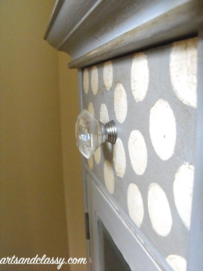 small table with polka dots and gem door knobs gets painted with annie sloan chalk paint paris gray for DIY Furniture projects