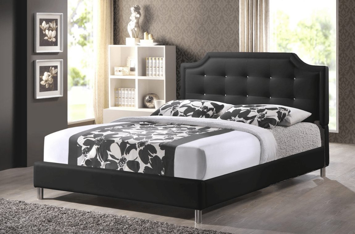 Baxton Studio Carlotta Modern Bed with Upholstered Headboard, Black