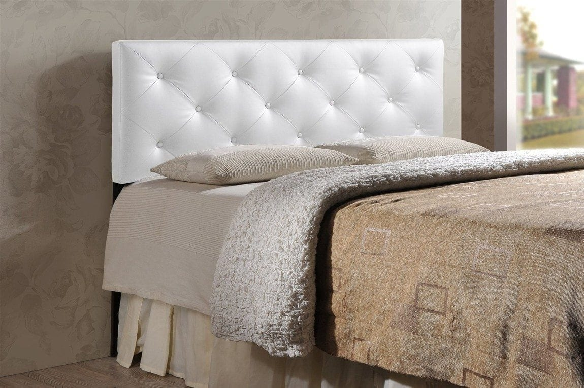 Baxton Studio Wholesale Interiors Baltimore Contemporary Faux Leather Headboard, Queen, White