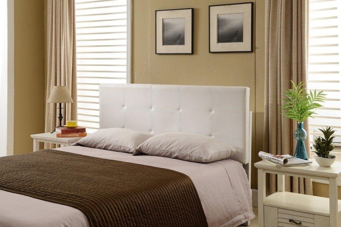Tufted Design Upholstered Adjustable Full : Queen Headboard (White)