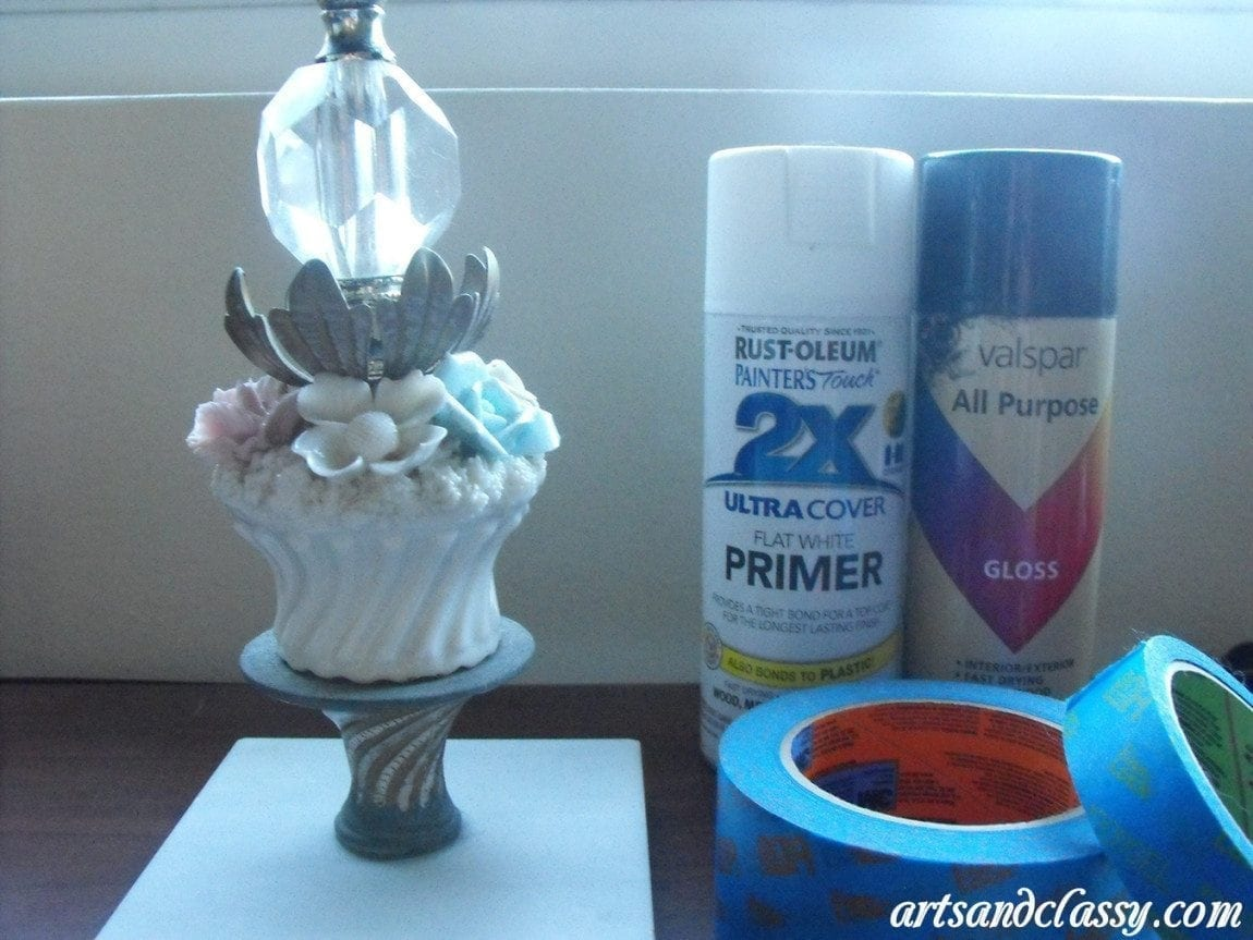 Vintage Flower Table Lamp Goodwill Find Tutorial 08