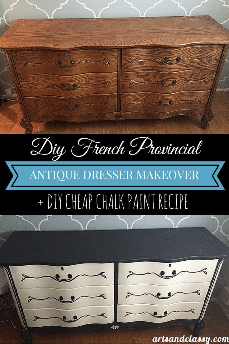 DIY French Provincial Antique Dresser Makeover + DIY Cheap Chalk Paint Recipe. Learn more at artsandclassy.com.
