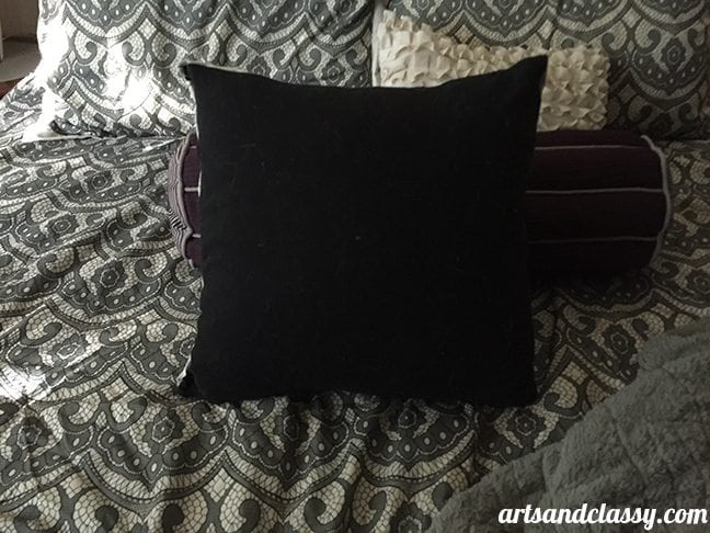 Easy DIY No Sew Pillow Cover Room Decoration - after image back of pillow placed on my bed - www.artsandclassy.com