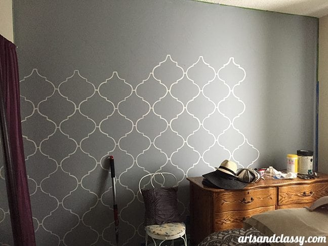 How To Create and Inexpensive and Elegant Moroccan Stencil Wall In Progress 2