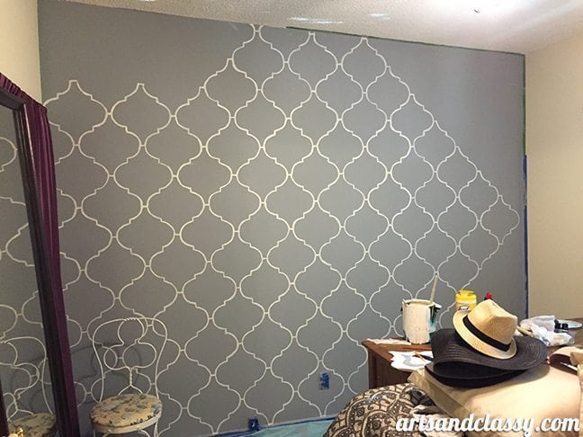 How To Create and Inexpensive and Elegant Moroccan Stencil Wall In Progress