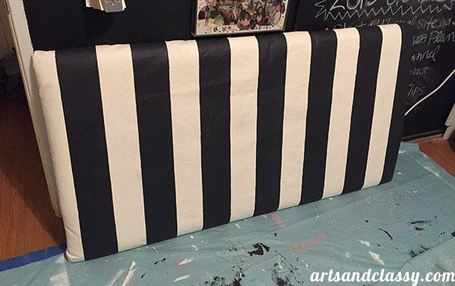 DIY Striped Vintage Glam Upholstered Headboard. Made for free at www.artsandclassy.com