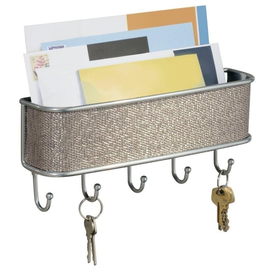 InterDesign Wall Mount, Mail and Key Rack, Metallico