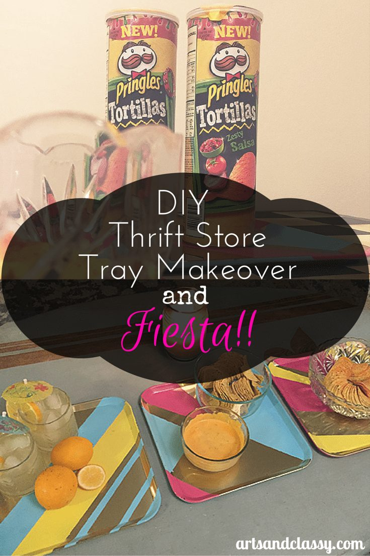 DIY Thrift Store Tray Set For a Pringles® Fiesta at www.artsandclassy.com #pringlesairdip