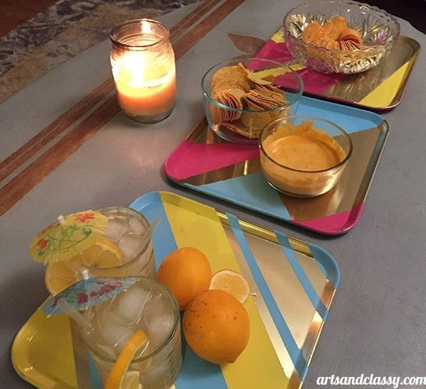 DIY Thrift Store Tray Set For a Pringles® Fiesta at www.artsandclassy.com #pringlesairdip
