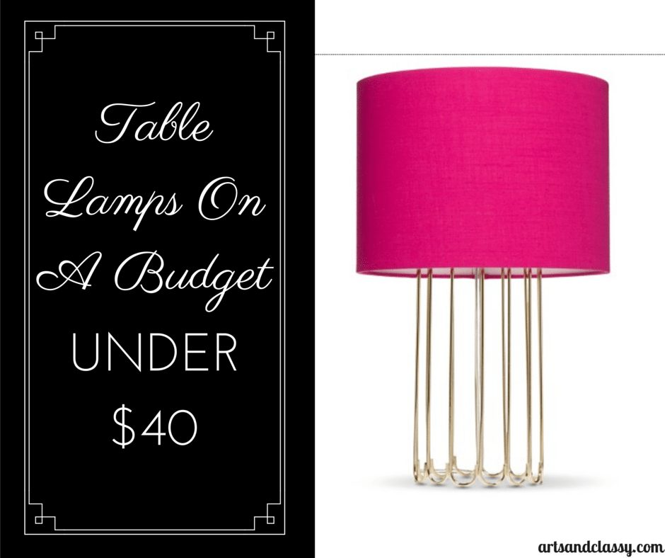 Threshold™ Gold Cage Lamp with Pink Shade under $40 via www.artsandclassy.com