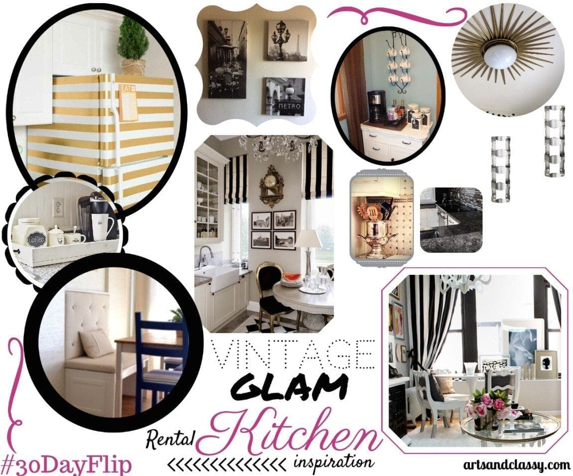Vintage Glame Rental Kitchen Mood Board for my #30dayflip makeover
