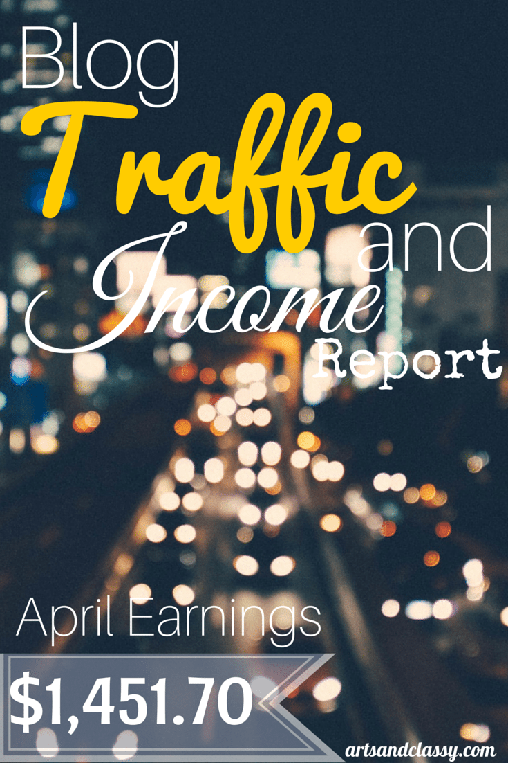 Blog Traffic and Income Report : How I made $1,451.70 in the month of April with my diy home decor blog www.artsandclassy.com. I began implementing some new systems and it has helped free up my time to dedicate to other important projects.
