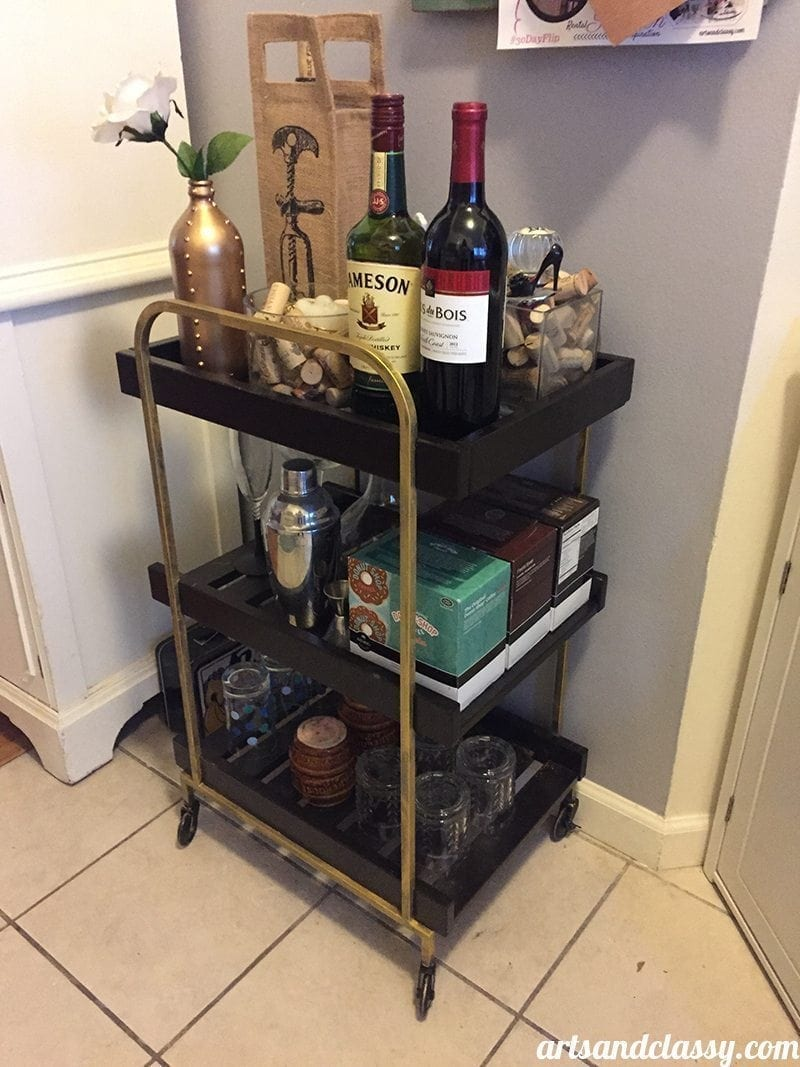 Ikea bar cart get's a touch of glam on the #30dayflip challenge in my rental kitchen at www.artsandclassy.com