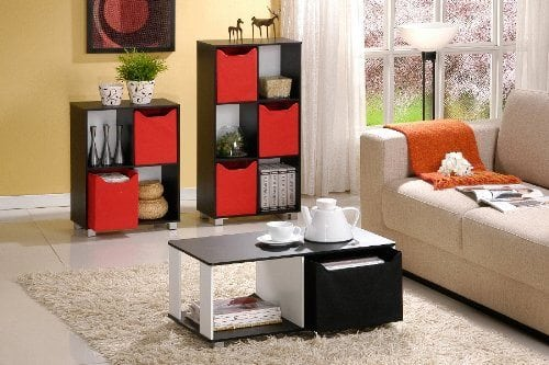 Furinno 99954 Coffee Table with Bin Drawer, Black and White Finish