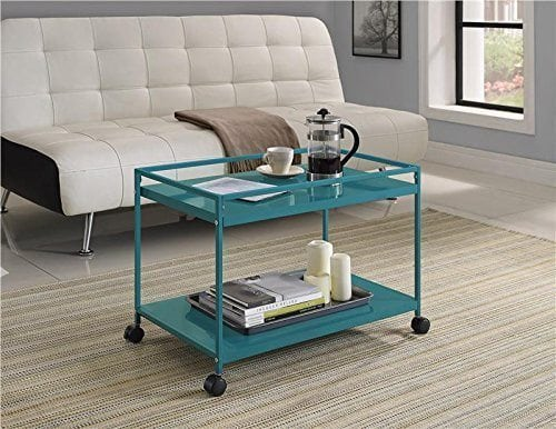 Marshall 2-Shelf Rolling Coffee Table Cart, Teal Finish