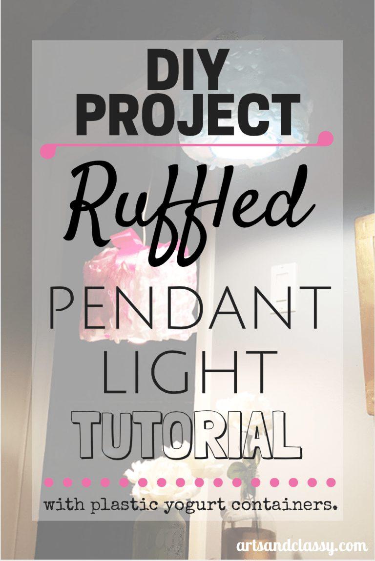 DIY PROJECT - Ruffled pendant light tutorial from repurposed yogurt container via artsandclassy.com